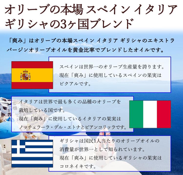 オリーブの本場 スペイン イタリア ギリシャの3ヶ国ブレンド